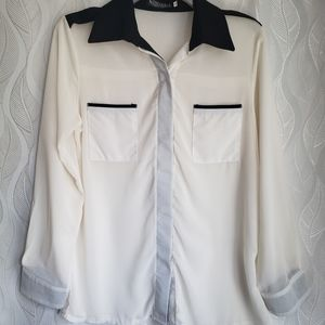 Sheer White And Black Long Sleeve Button Down
